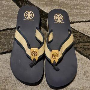 Tory Burch wedge flip flop sandals